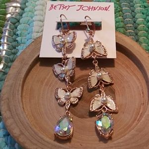 Betsey Johnson butterfly and crystal earrings nwt